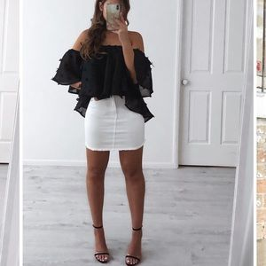 White distressed mini skirt